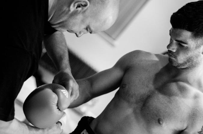 Trainer Paul Gough and Ryan Aston.
